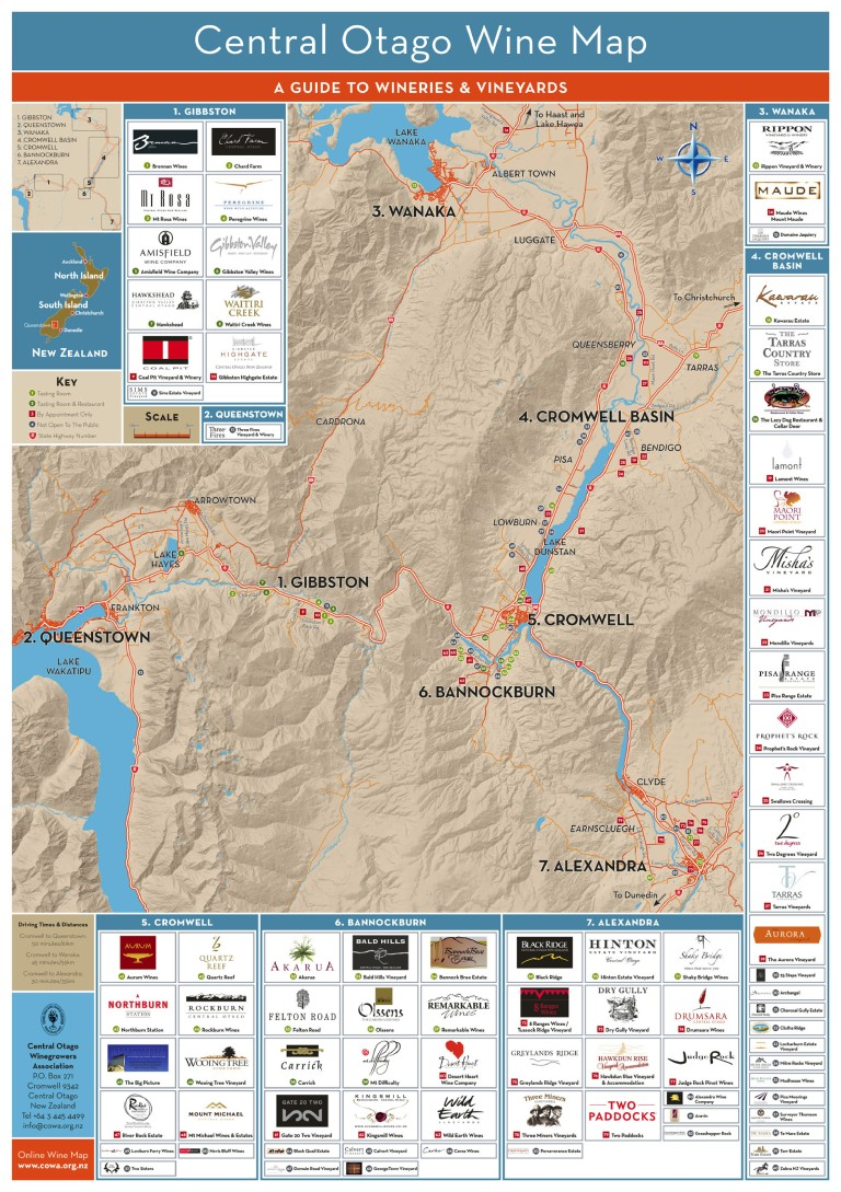 Central Otago Wine Map